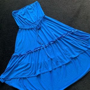Blue Strapless High Low Large Dress